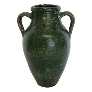 Antique Turkish Olive Jar in Emerald Green Glaze