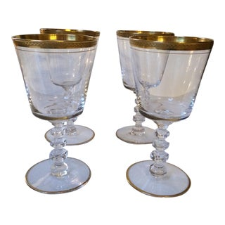 "Gold Rimmed d'Aqued Duran ""Rocks"" Crystal Glasses - Set of 4"