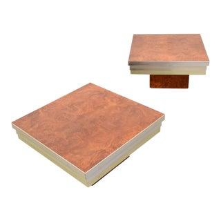 Pierre Cardin Burl Wood & Chrome Side Tables - A Pair