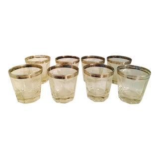 Mid-Century Modern Chrome Rimmed Cocktail Glasses - Set of 8