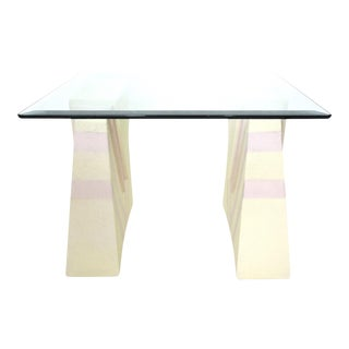 Palm Beach Style Pale Yellow & Pink Coffee Table