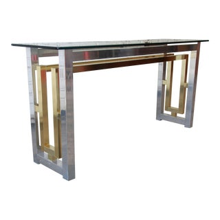 Chrome and Brass Console Table in the Style of Romeo Rega