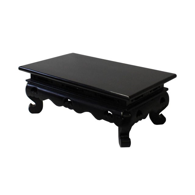Chinese Black Lacquer Rectangular Wood Stand Display - Image 3 of 6