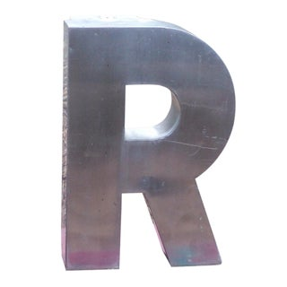 """Antique Industrial Stainless Steel Metal Letter """"R"""""""