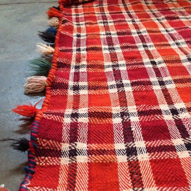 Image of Vintage Wool Plaid Blanket/Rug