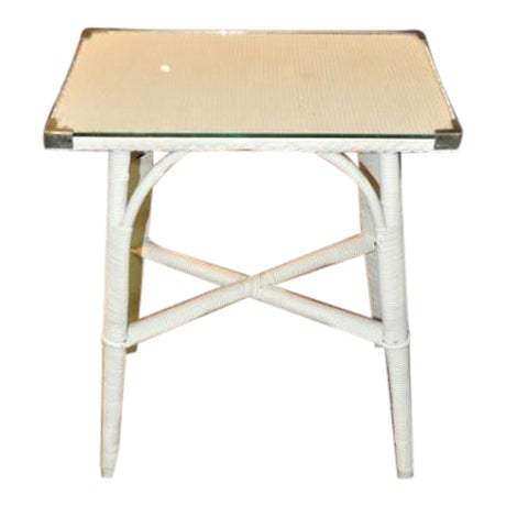 Image of Lloyd Loom Glass Top Side Table