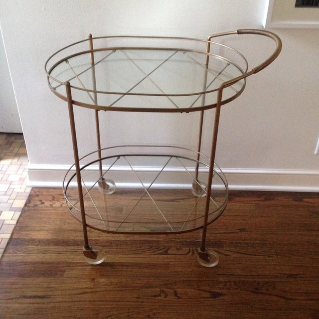 Vintage Brass Bar Cart - Image 2 of 11