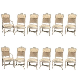 Cote France Fortuny Fabric French Regency Style Chairs - Set of 12