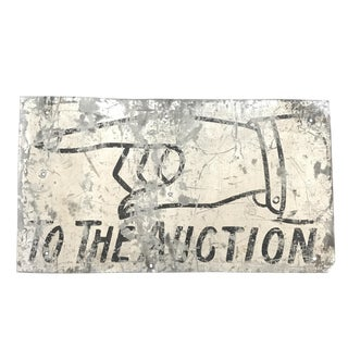 "Distressed Metal ""To The Auction"" Sign"