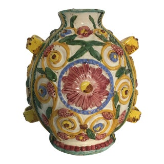 Italian Majolica Applied Pottery Oil Urn