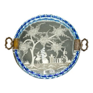Venetian Etched Mirrored Blue Rim Dresser Tray