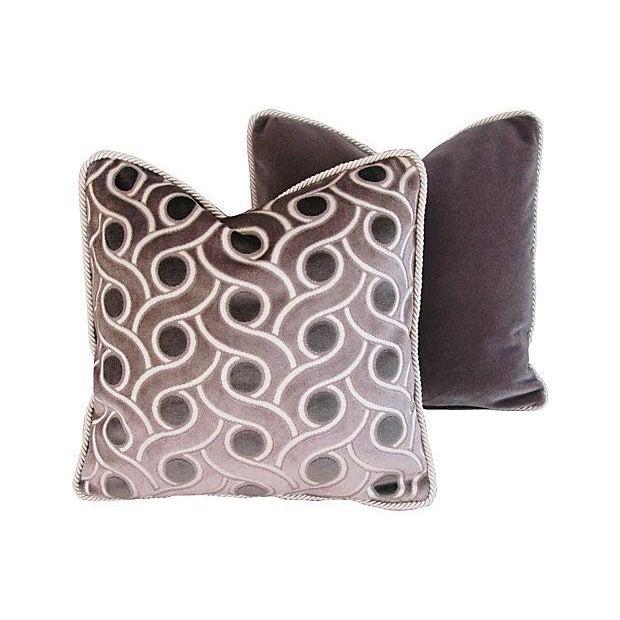 Custom Osborne & Little Cut Velvet Pillows - Pair - Image 5 of 7