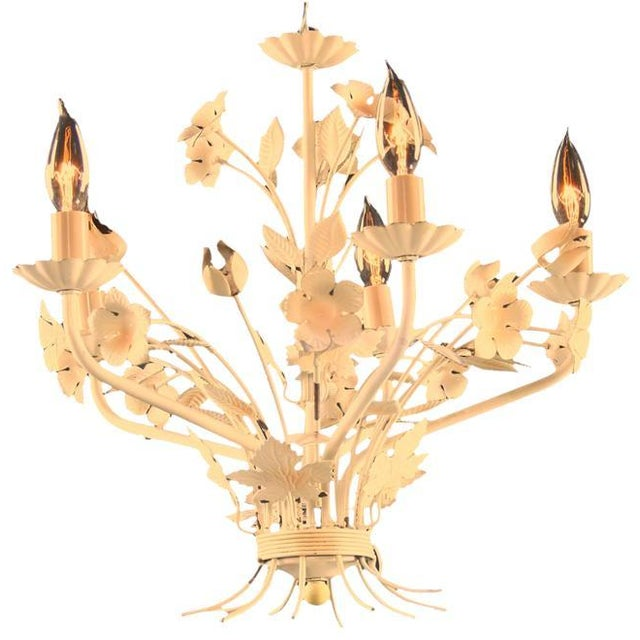 Petite Vintage French Country Painted Chandelier - Image 3 of 3