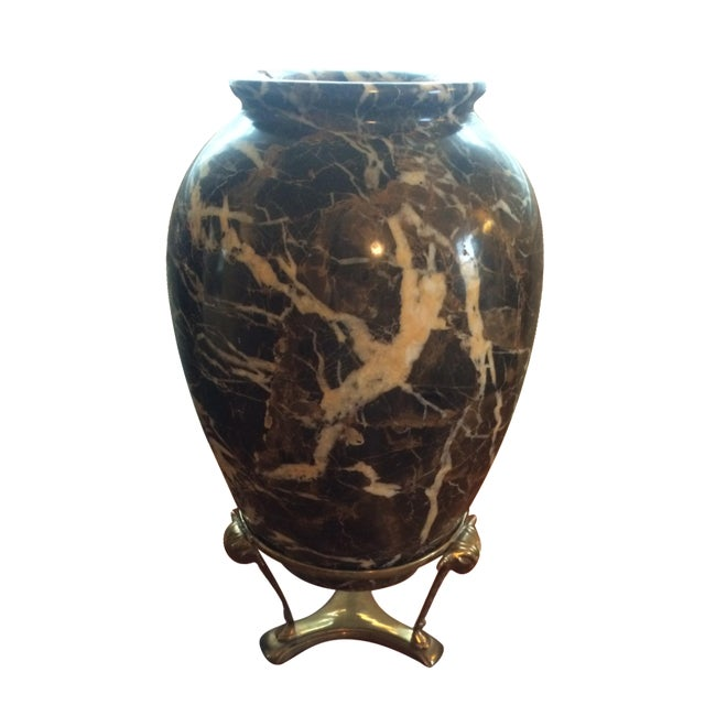 Marble Vase With Brass Bull Stand - Image 1 of 10