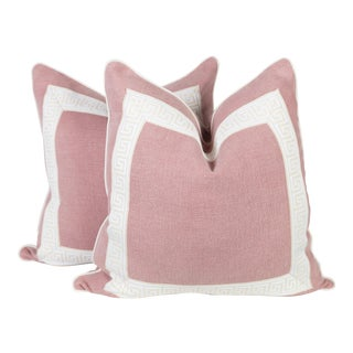 Pink Linen & Ivory Greek Key Pillows - A Pair