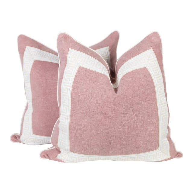 Pink Linen & Ivory Greek Key Pillows - A Pair - Image 1 of 5