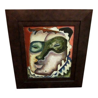 Mid- Century Modern Signed Oil Painting- Jester