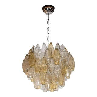 Mid-Century Modernist Polyhedral Chandelier in Smoked Amber and Clear
