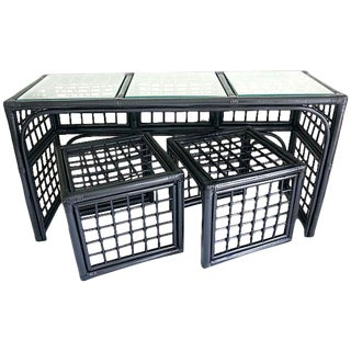 Vintage Black Rattan Console & Nesting Tables - 3