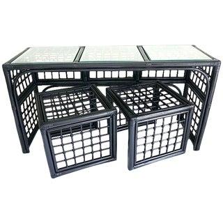 Vintage Black Rattan Console & Nesting Tables - 3