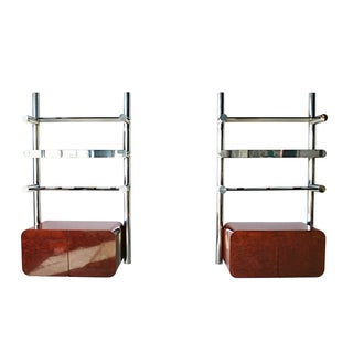 Mid Century Chrome & Burl Pace Orba Wall Unit