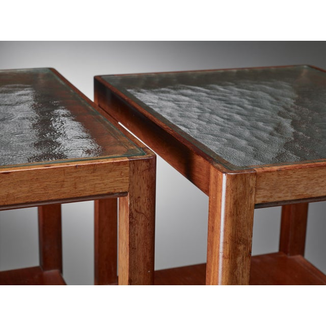 Thorald Madsen Pair of Mahogany Side Tables with Glass Top, Denmark, 1930s - Image 4 of 5