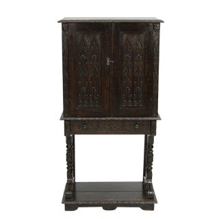 Carved English Oak Cabinet