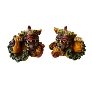 Painted Ceramic Foo Dogs - A Pair