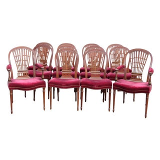 Jansen Directoire Style Carved Walnut Dining Chairs - Set of 12