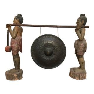 Antique Oriental Gong Set