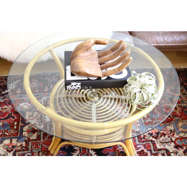 Round Wicker Coffee Table Glass Top: Round Rattan & Bamboo Pencil Reed Glass Top Coffee Table