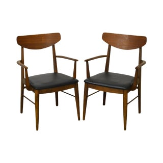 Mid Century Danish Modern Style Walnut Arm Chairs by Stanley - a Pair