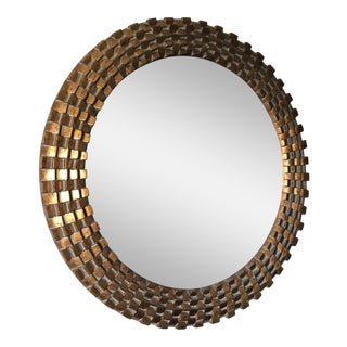 Large Round Gilded Mirror with Wide Border