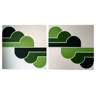 1970s Green Clouds Pop Art Serigraphs - A Pair