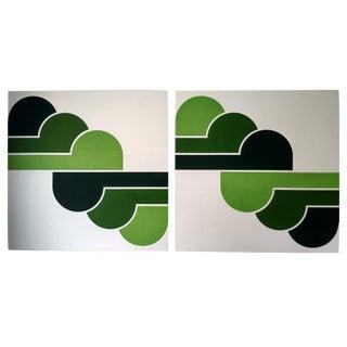 1970s Green Clouds Pop Art Serigraphs - A Pair