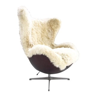 Forsyth One of a Kind Arne Jacobsen for Fritz Hansen Egg Chair Restored in Brazilian Sheepskin and Leather