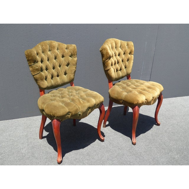 French Provincial Tufted Velvet Chairs - Pair - Image 3 of 11