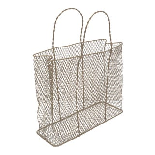Gold Wire Mesh Bag Magazine Rack