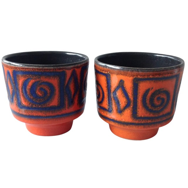 Mid-Century Orange & Blue Planters - A Pair - Image 1 of 7