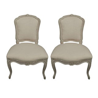 Gustavian Style Gray Side Chairs - A Pair