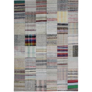 "Hand Knotted Patchwork Kilim by Aara Rugs Inc. - 7'9"" X 5'6"""