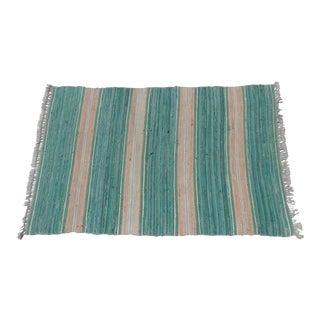"Swedish Vintage Handwoven Rag Rug -- 3.4"" x 5.25"""