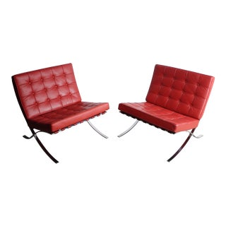 Red Barcelona Chairs - A Pair