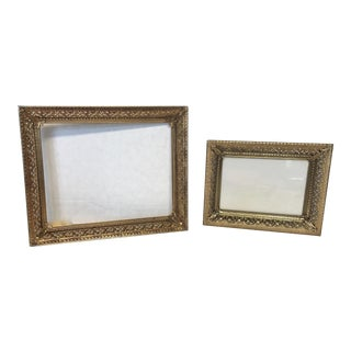 Antique Gilt Filigree Photo Frames - A Pair