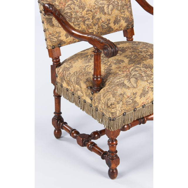 1860's French Louis XIII Style Armchairs - Pair - Image 10 of 10