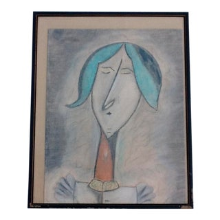 Vintage Modigliani Style Primitive Charcoal Sketch