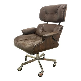 Eames Style Rosewood & Leather Office Chair