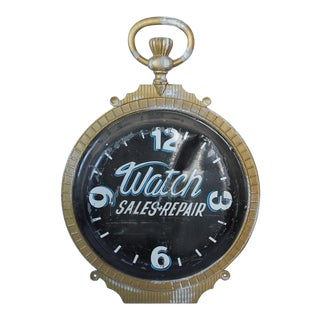 1800s Double Sided Cast Iron Advertising Clock Sign