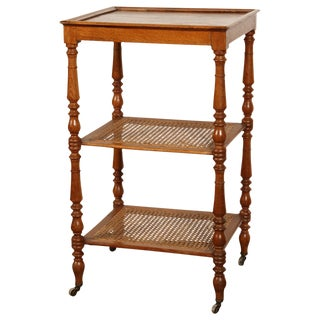 French Oak Side Table with Turned Legs and Caning