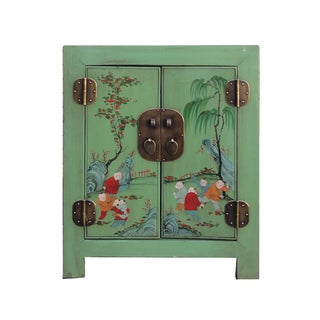 Chinese Pastel Green Butterfly Nightstand